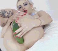 Inserts cucumber - porn GIFs